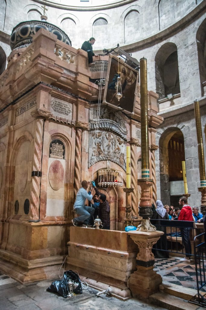 Tomb of Jesus in Church of the Holy Sepulchre Jerusalem Israel