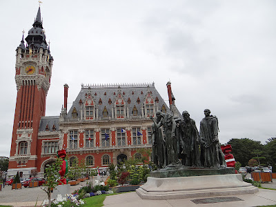 Calais Town Hall + Rodin's Six Burghers Monument