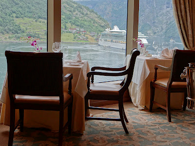 View from our Table in Queens Grill Restaurant while docked in Geiranger