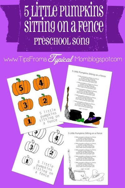 5 Little Pumpkins Sitting on a Fence Preschool Song download and printables