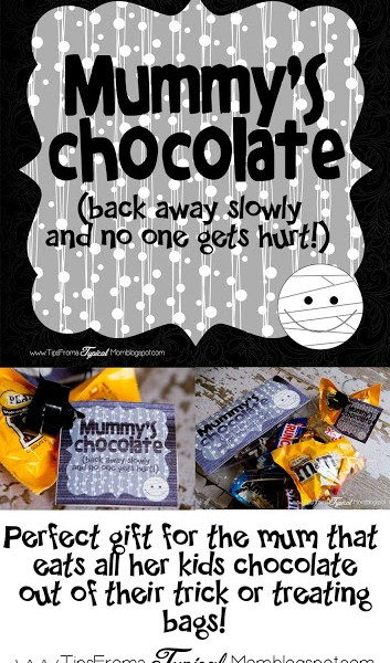 Mummy's Chocolate Gift Tag for Mom on Halloween