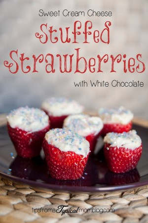 Sweet Cream Cheese Stuffed Strawberries with White Chocolate