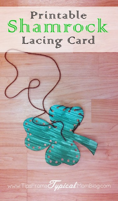 Saint Patrick's Day Ideas for Preschoolers. Free Printable Shamrock Lacing Card from Tips From a Typical Mom.