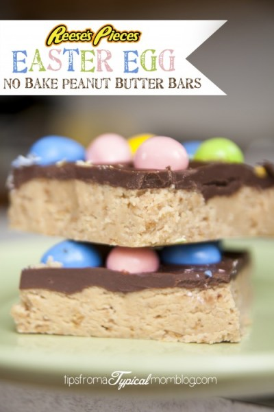 Easter Egg Reese's Pieces No Bake Peanut Butter Bars