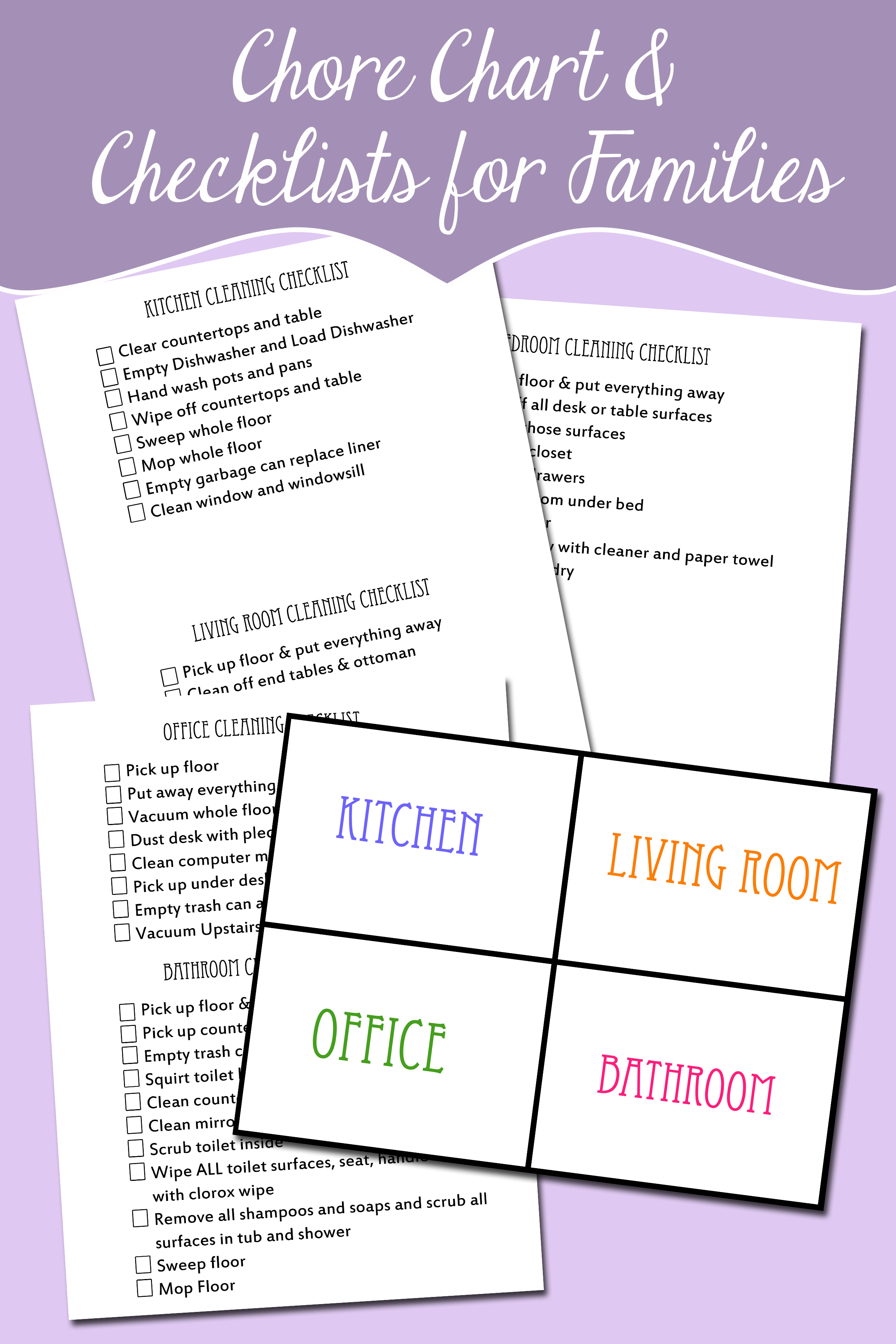 Free Rotating Chore Chart And Chore Checklist For Kids