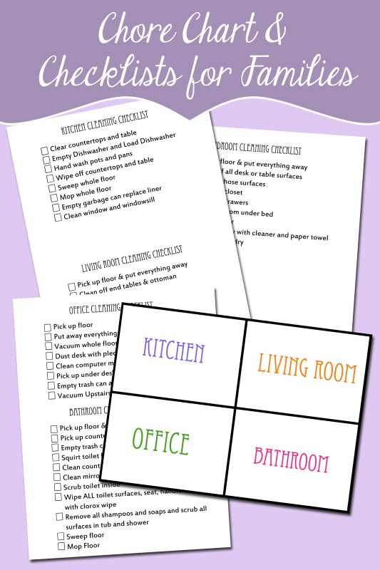 Family Chore Organizational chart and checklists free