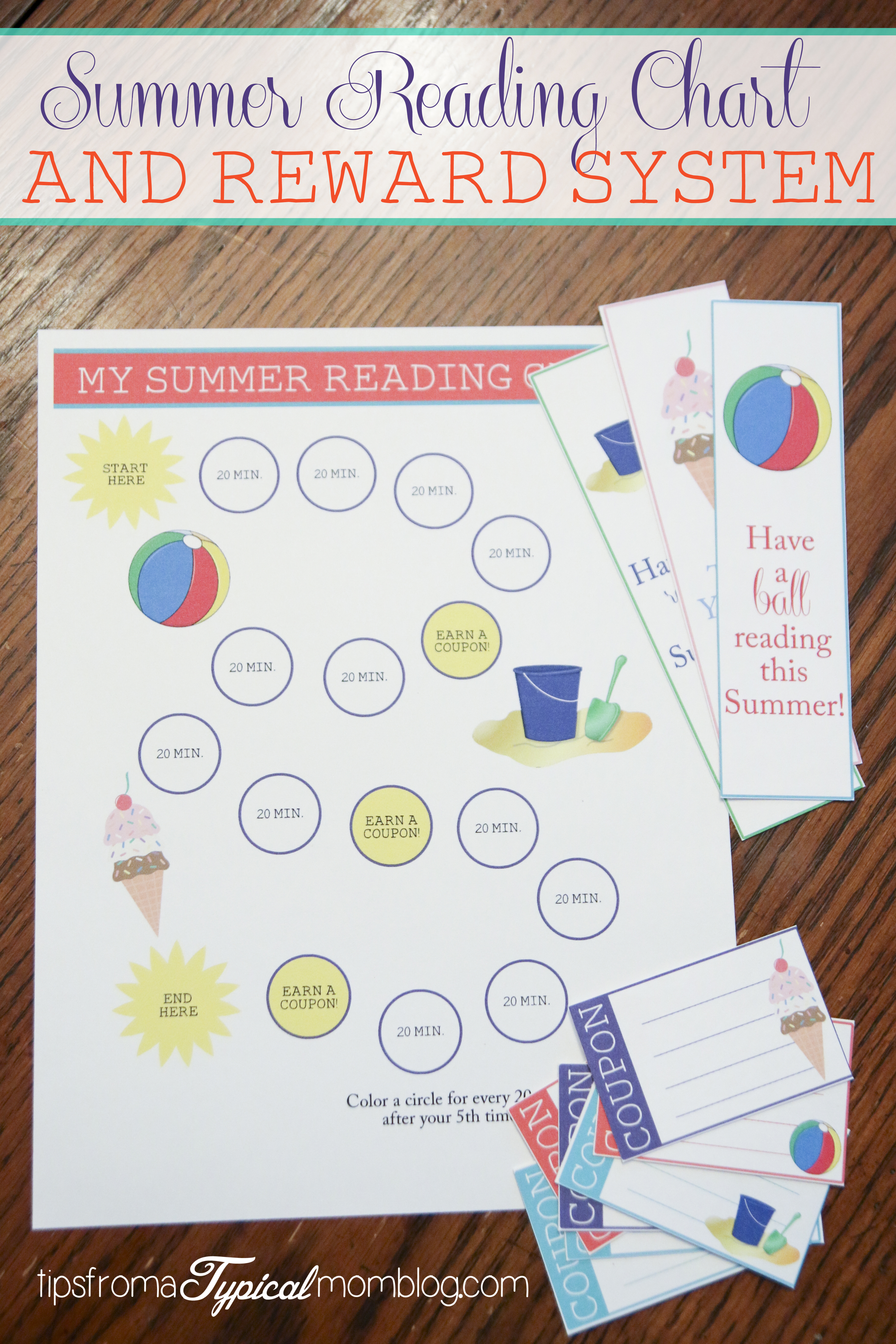 photo about Have a Ball This Summer Free Printable named Summer months Examining Chart and Benefit Method for Small children