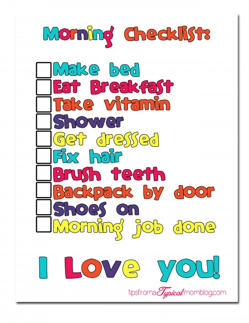 Back to School Morning Routine Checklist with Free printable