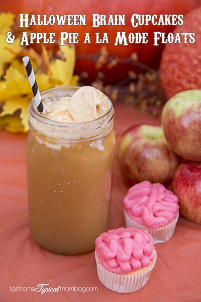 "Apple Pie A La Mode Float & Sunkist TEN ""Brain"" Halloween Cupcakes"