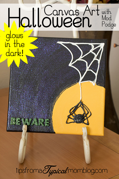 Glow in the Dark Halloween Canvas Wall Art with Mod Podge Tutorial