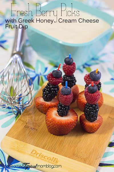 Fresh Berry Picks with Cream Cheese Honey Greek Yogurt Fruit Dip