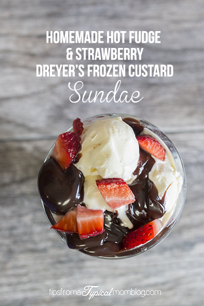 Dreyer's Frozen Custard Hot Fudge & Strawberry Sundae