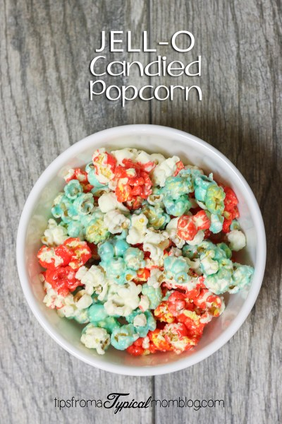 Red, White & Blue Jello Candied Popcorn- 4th of July
