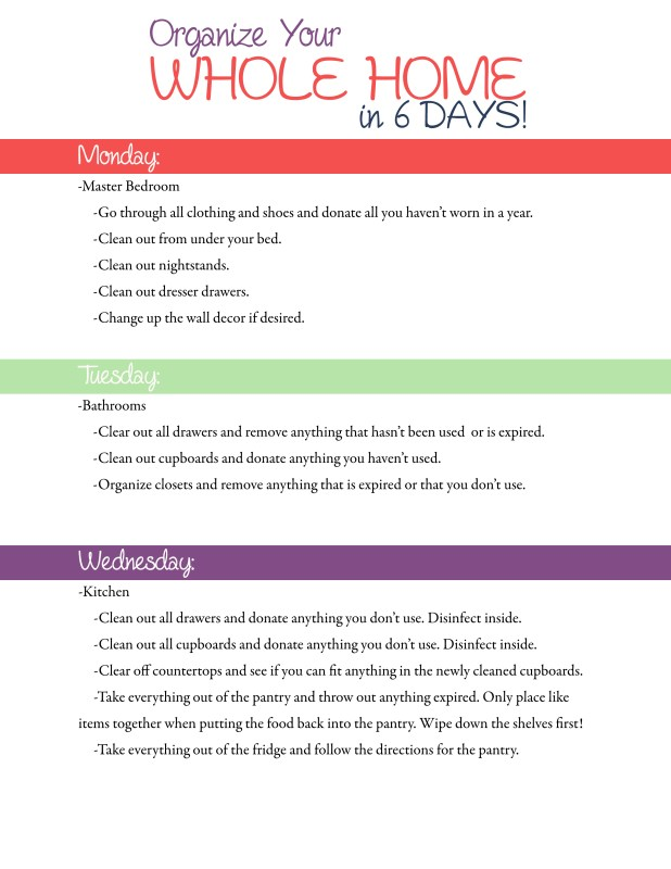 How to Organize Your Whole Home In 6 Days