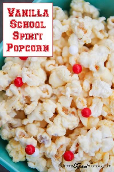 Vanilla School Spirit Popcorn for School Parties