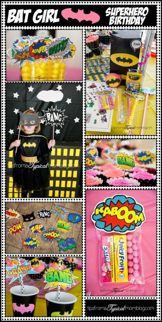Superhero Birthday Party Ideas for a girl who loves Bat Man. Great free printables and games. Tips From a Typical Mom.