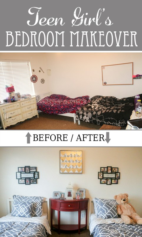 Gray and Red Teen Girl\'s Bedroom Makeover Ideas