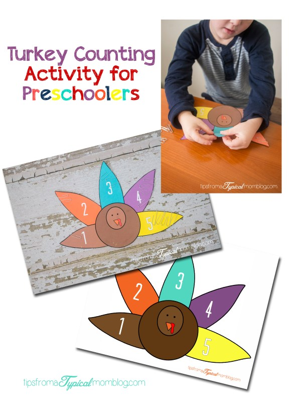 Turkey Counting Activity for Preschoolers