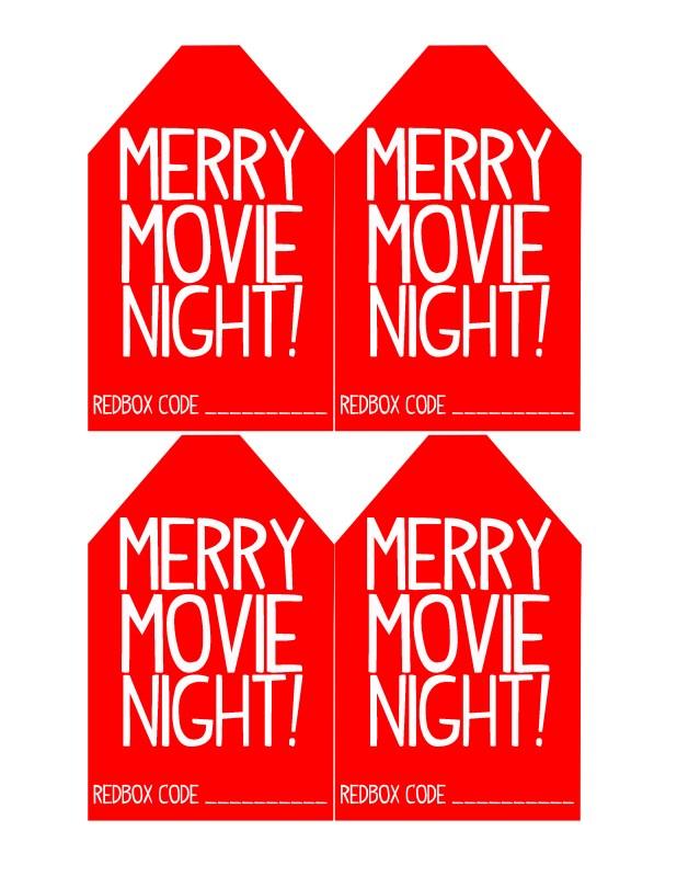 Merry Movie Night Redbox Christmas Gift Tags