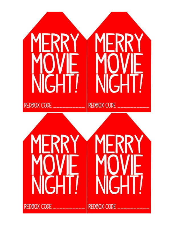 Merry Movie Night Redbox Christmas Gift Tags