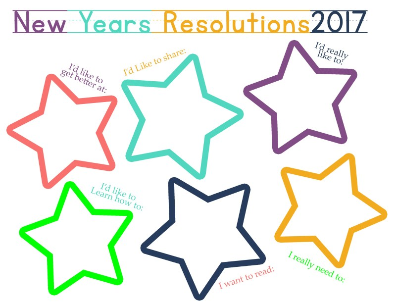 2017 New Years Resolution Worksheets for Kids