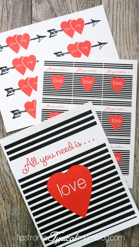 All You Need Is Love Printable Valentine