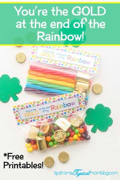 """You're The Gold at the End of My Rainbow"" St. Patrick's Day Free Printable Gift Tag Topper"