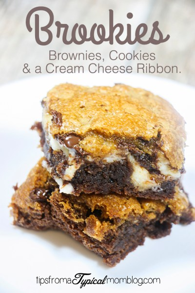 Cream Cheese Brookies~ Brownies & Chocolate Chip Cookies with a Cream Cheese Ribbon
