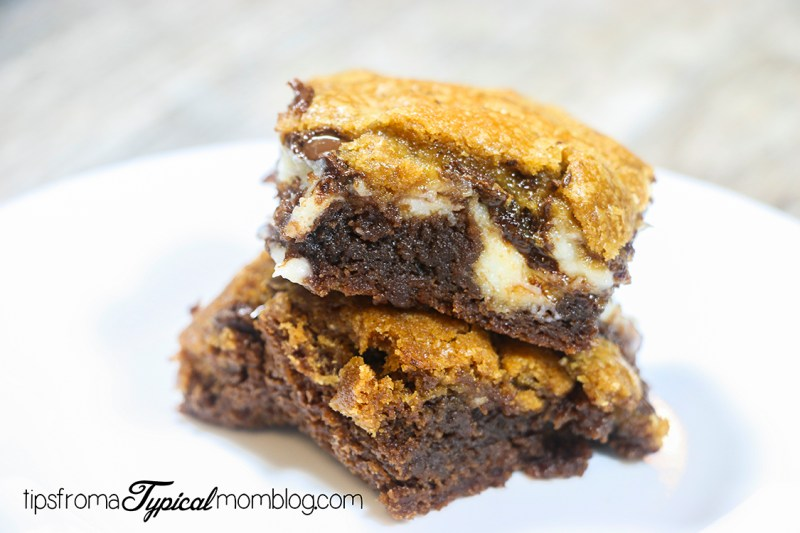 Brookies! These Dessert Bars are a Brownie and a Cookie with a Cream Cheese Ribbon all in one! #Recipe #Brownies #Cookies #Bars
