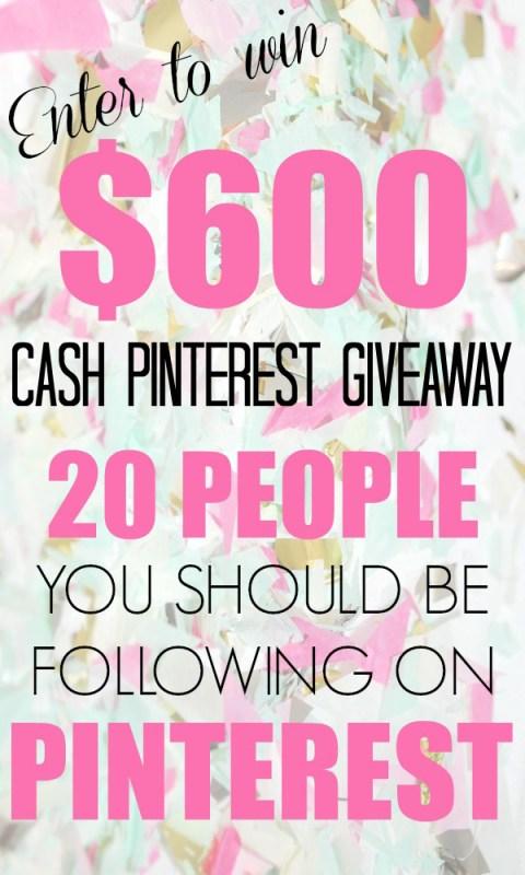 $600 Spring Pinterest Cash Giveaway!
