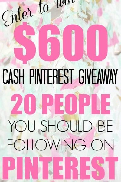$600 Spring Pinterest Cash Giveaway!