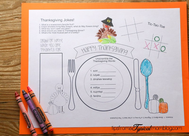 Kids Thanksgiving Placemat Printables