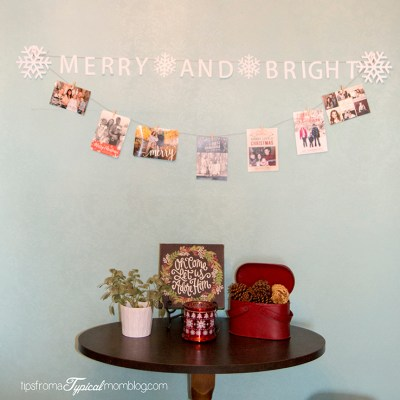 Merry and Bright Banner Christmas Card Display with Cricut