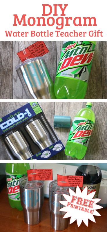 DIY Monogram Water Bottle Teacher Gift Idea Tall