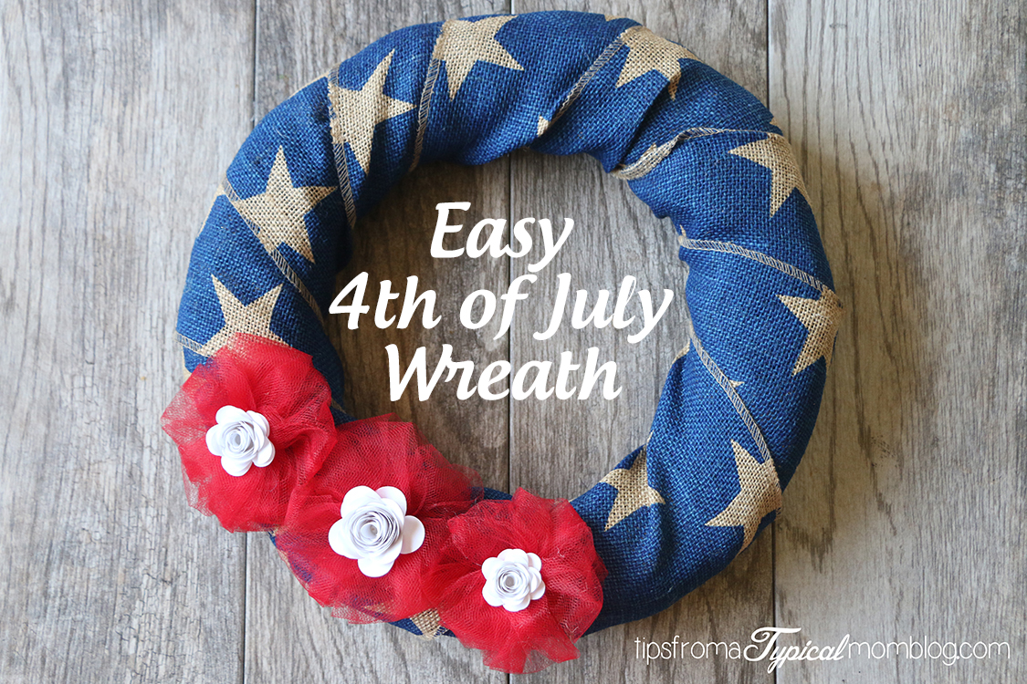 Easy Burlap Ribbon 4th Of July Wreath With White Paper Flowers Tips From A Typical Mom