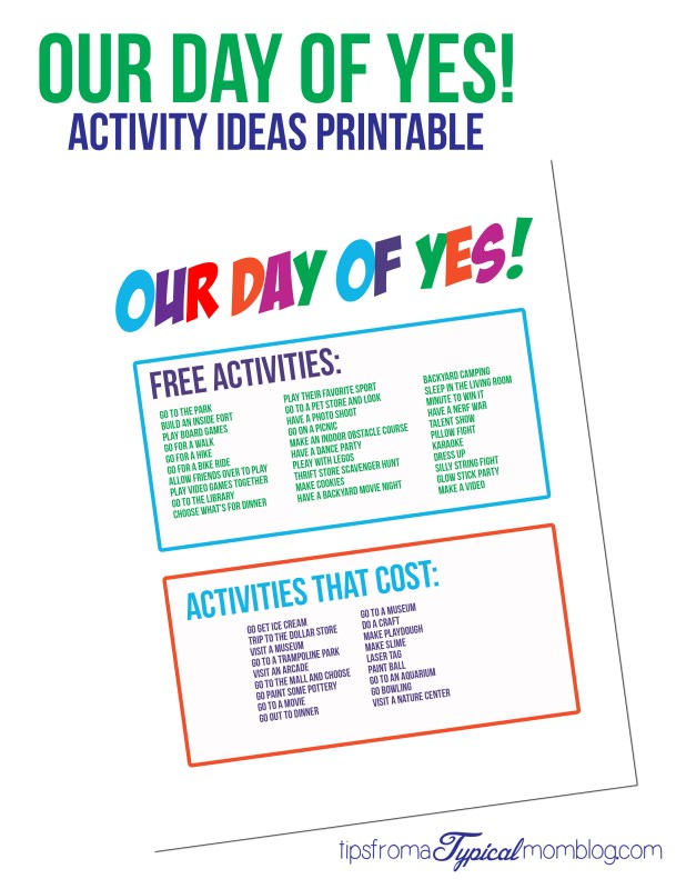 Our Day of Yes Activity Ideas Printables