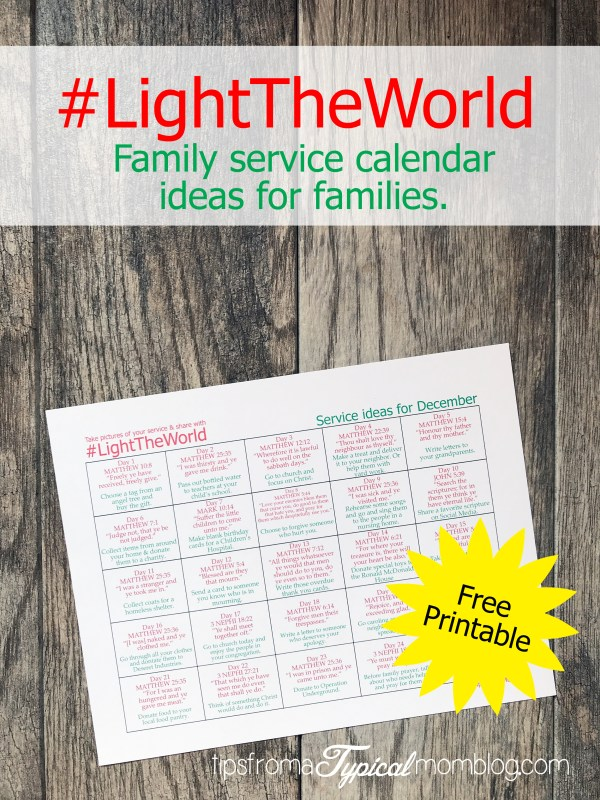 Light The World Service Calendar for Families