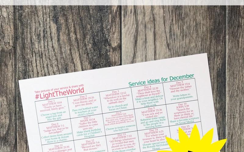 #LightTheWorld Service Ideas Calendar Printable- How to Keep Christ in Christmas