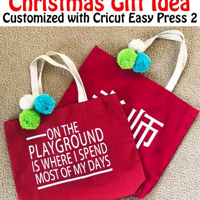 Teacher Tote Bag Custom Christmas Gift with Cricut and Easy Press 2