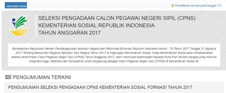 Daftar Nama Lulus Seleksi Administrasi CPNS Kementerian Sosial 2017