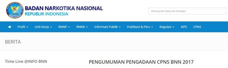 Daftar Nama Lulus Hasil Seleksi Administrasi CPNS BNN 2017