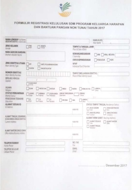 Petunjuk Pengisian Formulir Registrasi Peserta Lulus Seleksi SDM PKH Kemensos 2017, Formulir PKH, mengisi formulir Registrasi SDM Pelaksana PKH BPNT Kemsos Kemensos Kementerian Sosial.