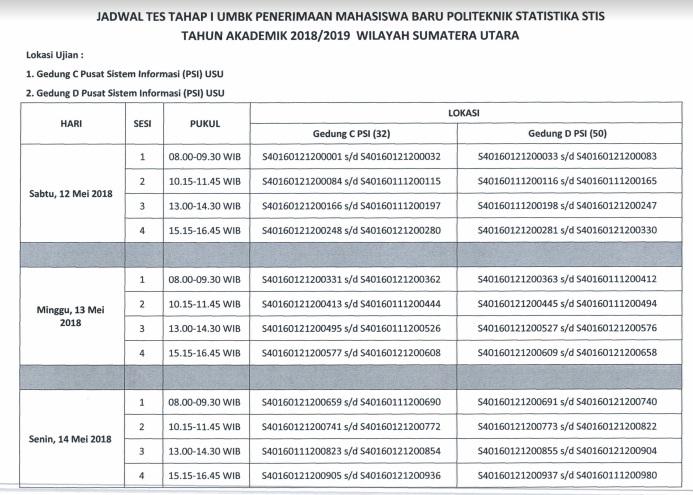 Jadwal Dan Lokasi Ujian Tahap 1 Seleksi PMB STIS 2018, Ujian Masuk Berbasis Komputer (UMBK) Penerimaan Mahasiswa Baru PMB STIS tahun 2018.