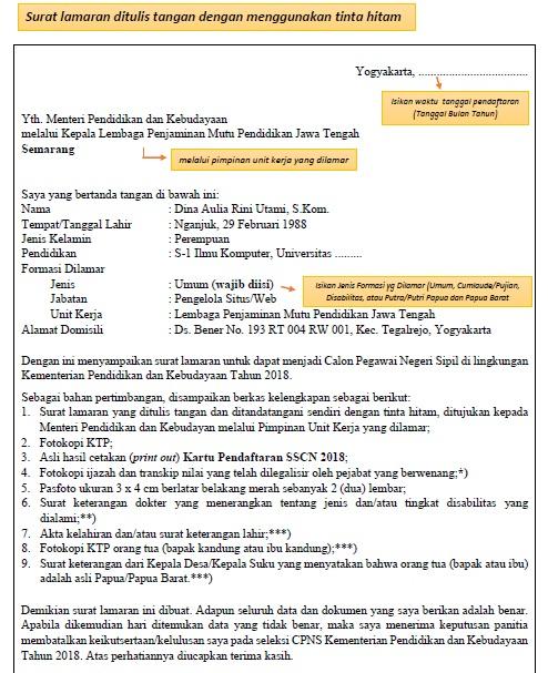 Download Contoh Surat Lamaran Seleksi CPNS Kemendikbud 2018 PDF Word.