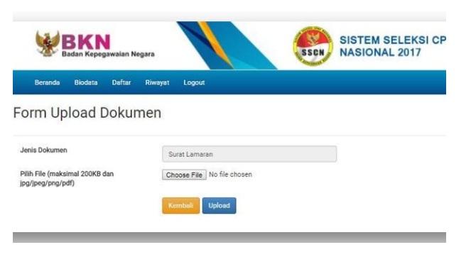 form dokumen upload cpns