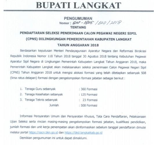 Pengumuman Jumlah Lowongan Formasi CPNS KAB LANGKAT SUMUT 2018.