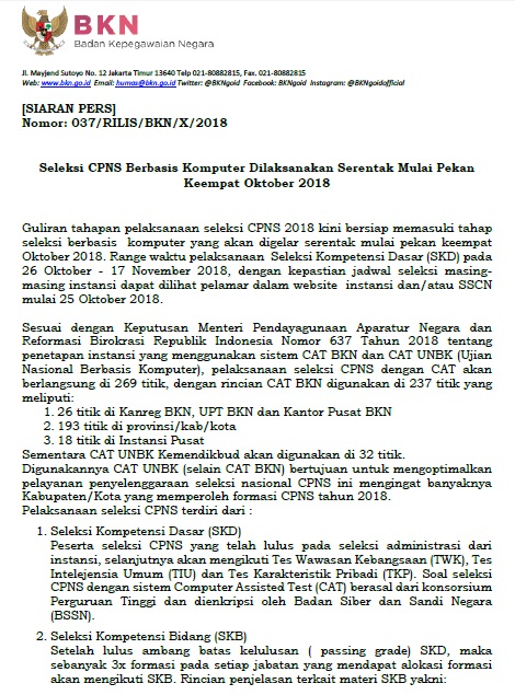 Jadwal dan Lokasi Tes SKD CPNS KABUPATEN BIMA 2018 Peserta Lulus Seleksi Administrasi SSCN.