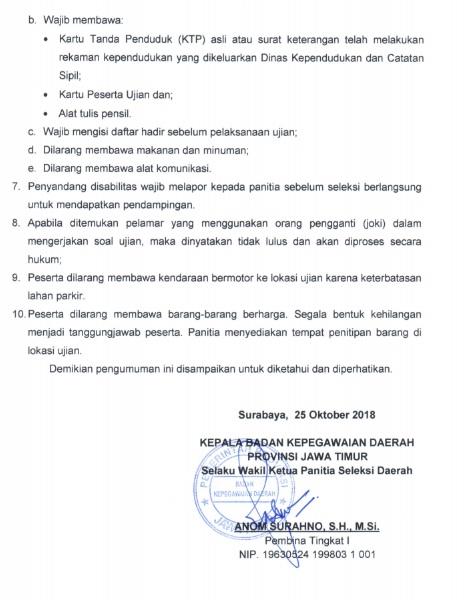Jadwal dan Lokasi Tes SKD CPNS JATIM JAWA TIMUR 2018 Peserta Lulus Seleksi Administrasi SSCN.
