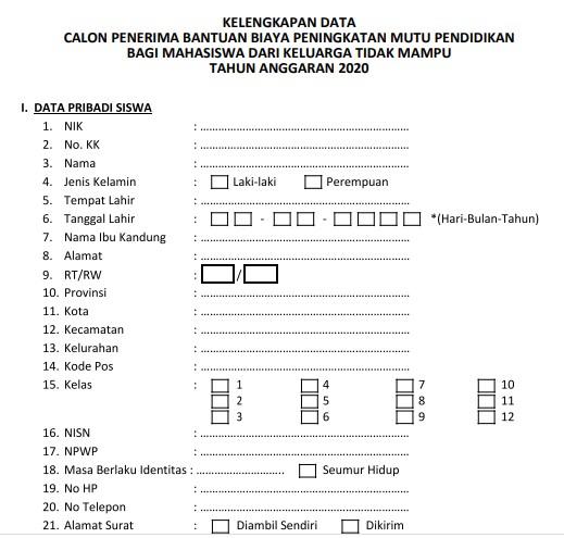 Formulir data penerima Beasiswa KJMU 2020