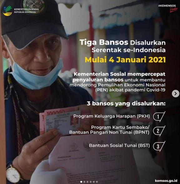 3 Bansos 2021 Disalurkan Kemensos PKH BPNT BST Kementerian Sosial Simak Syaratnya